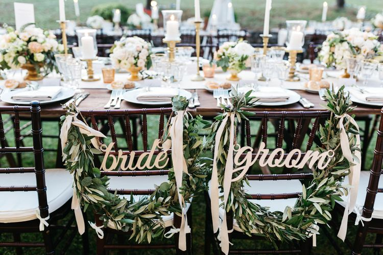 Bride & Groom Signs with Greenery Garland Chair Back Decor