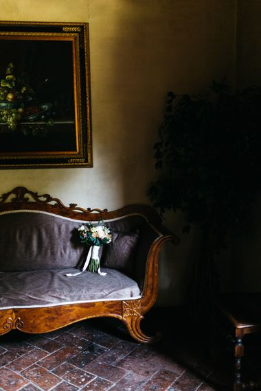 Classic Peach Rose Wedding Bouquet