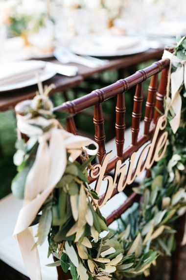 Bride Sign with Greenery Garland Chair Back Decor