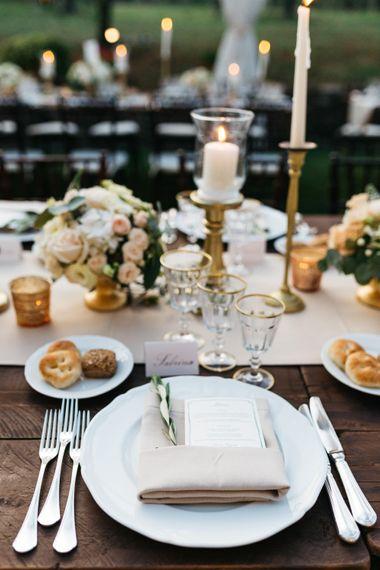 Elegant Peach & Gold Place Setting