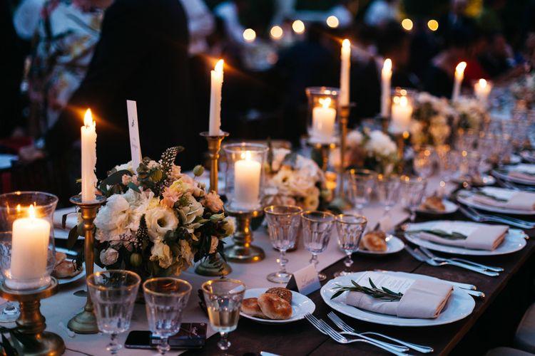 Candle & Festoon Light Wedding Decor