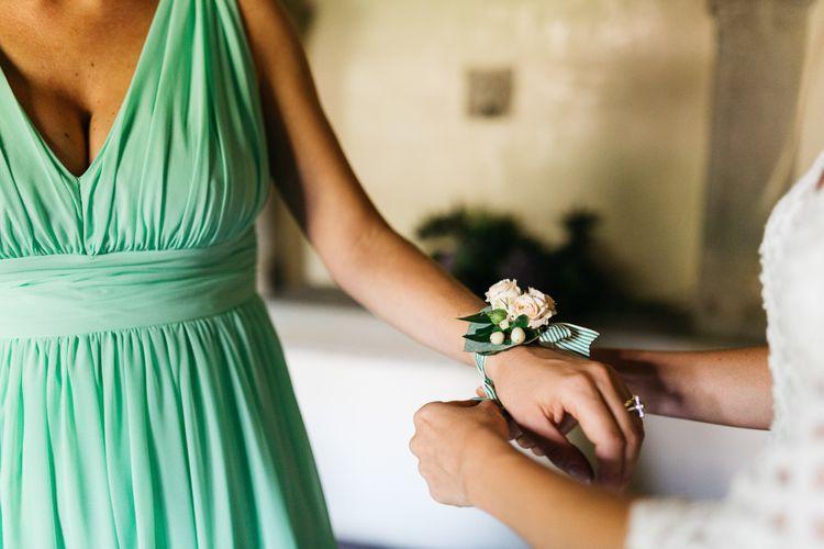 Delicate Peach Rose Bridesmaid Wrist Corsage