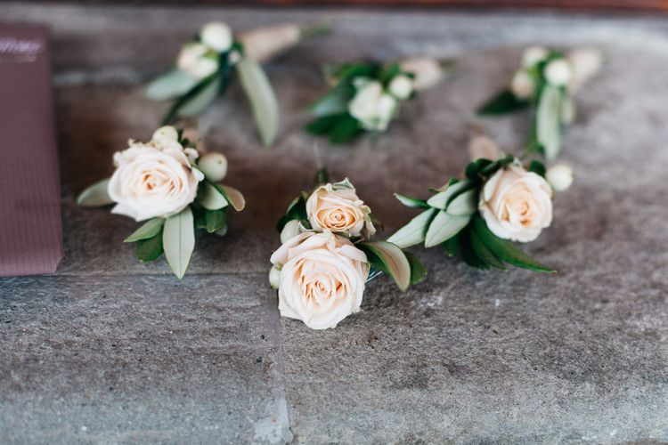 Delicate Rose Peach Buttonholes