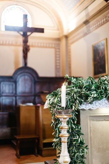 Church Candle and Greenery Garland