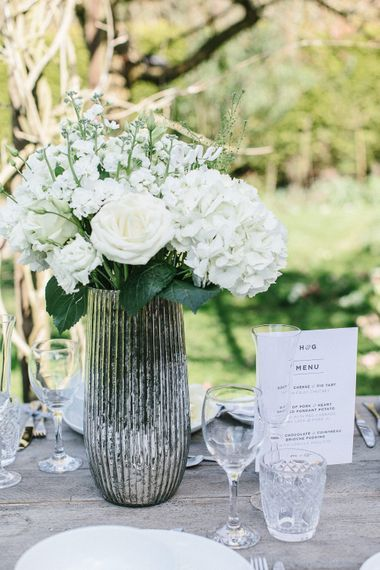 Mercury Vase And White Wooden Wedding Table Number // Wedding Table Details From The Sainsbury's Home Wedding Collection