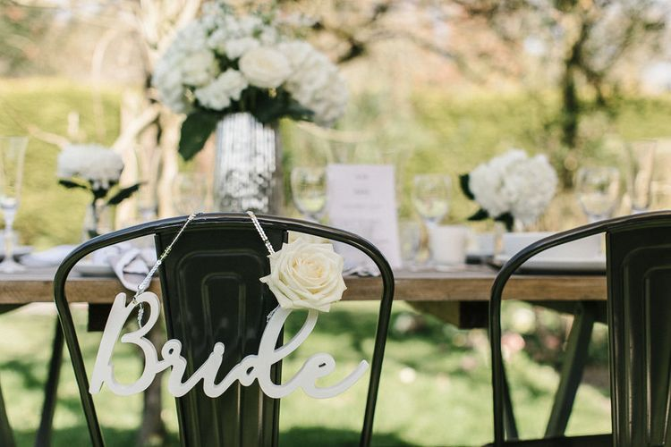 White Wooden 'Bride' & 'Groom' Sign For Wedding // Wedding Table Details From The Sainsbury's Home Wedding Collection