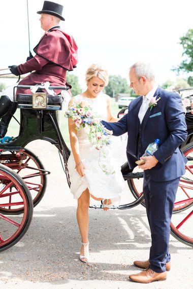 Horse Drawn Carriage | Woodland Fairy Tale | Backyard Wedding | Summer Lily Studio | Oleg Cassini at David's Bridal