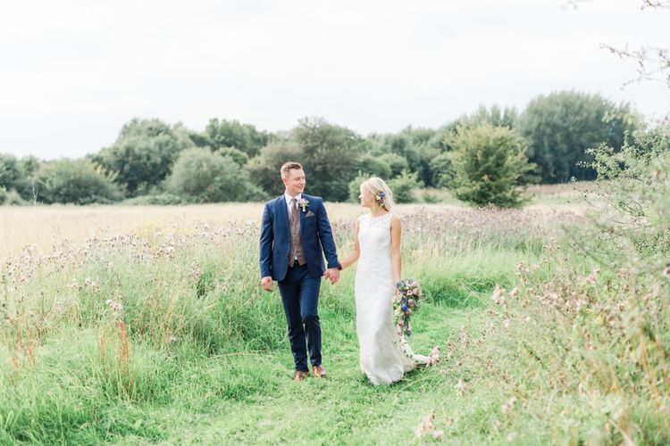 Couple shoot in the fields | Woodland Fairy Tale | Backyard Wedding | Summer Lily Studio | Oleg Cassini at David's Bridal