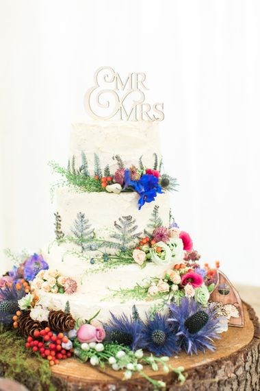 Cake | Woodland Fairy Tale | Backyard Wedding | Summer Lily Studio | Oleg Cassini at David's Bridal