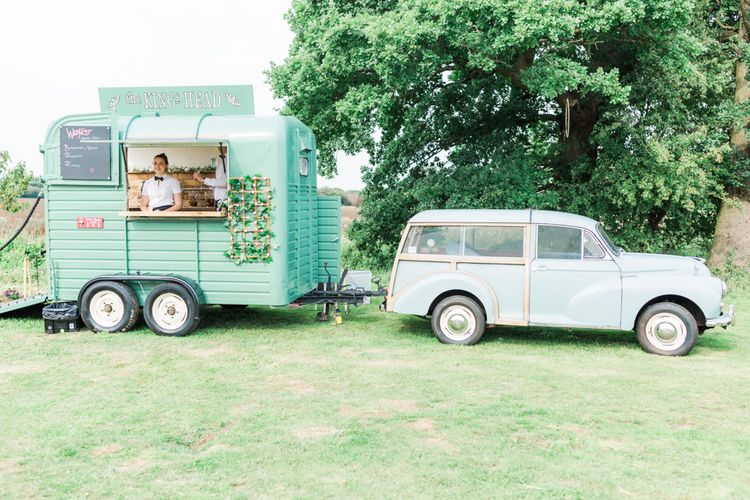 Horse Box Bar | Woodland Fairy Tale | Backyard Wedding | Summer Lily Studio | Oleg Cassini at David's Bridal