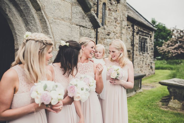 Bridesmaids in Blush Pink Dessy Dresses