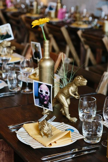 Gold Spray Painted Table Decor