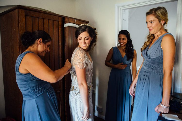 Bride in Pre Owned Jenny Packham Dress Getting Ready