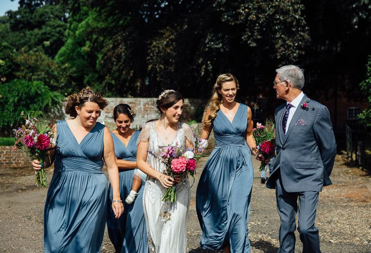 Bridal Party Entrance   Bridesmaids in Blue Dresses