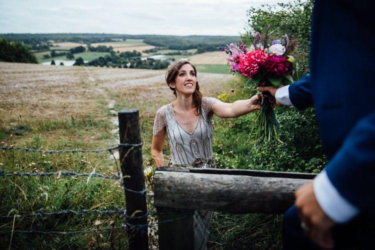 Bride in Pre Owned Jenny Packham Dress Field Portrait