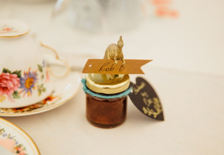 Homemade Chutney Wedding Favours with Dinosaurs