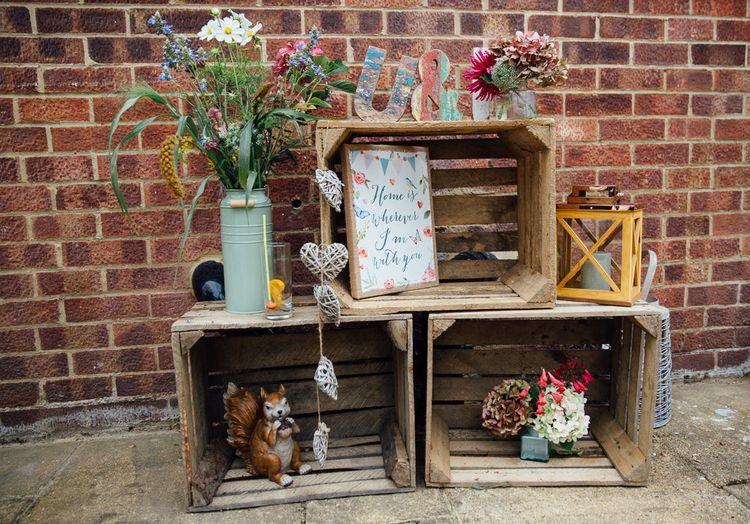Rustic Wooden Crates Wedding Decor
