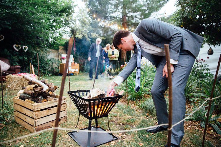 Fire Pit at Back Garden Wedding