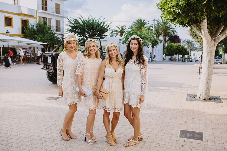 Bridesmaids with Flower Crown & Different Lace Nude Dresses | Bride in Flora Bridal Wedding Dress | Raquel Benito Photography