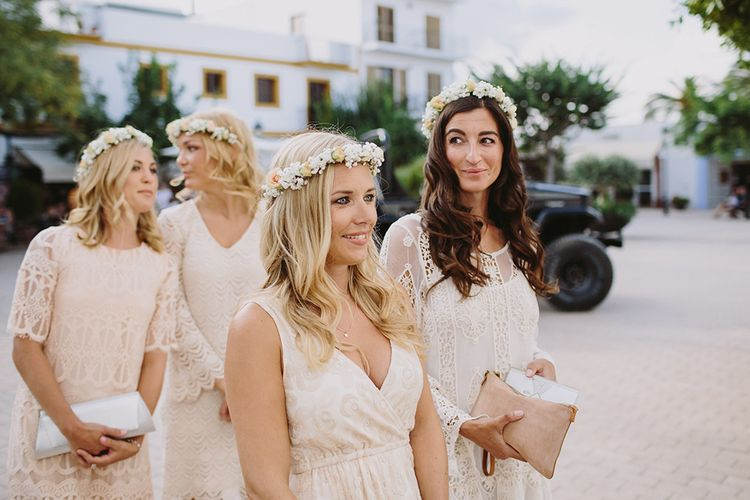 Bridesmaids in Different Nude Dresses & Flower Crowns | Raquel Benito Photography