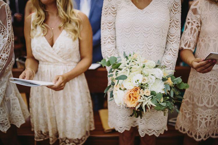 Bridesmaids in Diffrent Nude Lace Dresses | Raquel Benito Photography