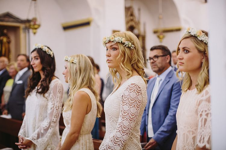 Bridesmaids in Different Nude Dresses | Raquel Benito Photography
