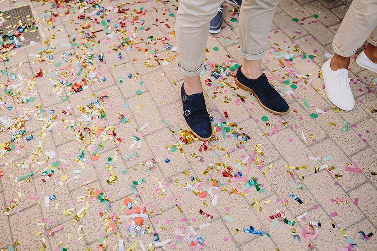 Confetti Covered Floor | Raquel Benito Photography