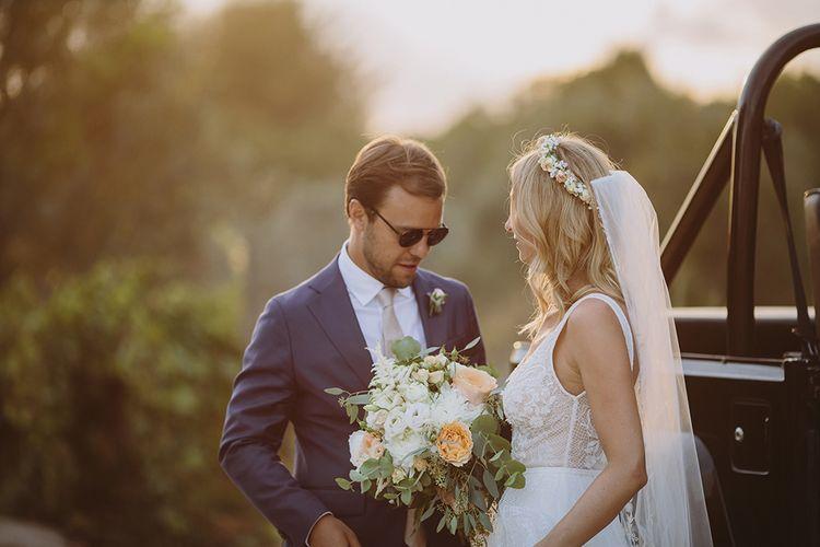Sunset Portrait | Bride in Flora Bridal Wedding Dress | Raquel Benito Photography