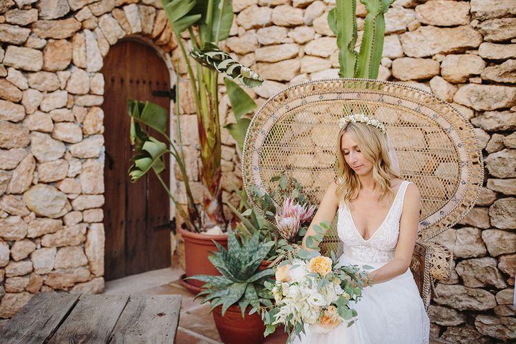 Bride in Flora Bridal Wedding Dress | Raquel Benito Photography