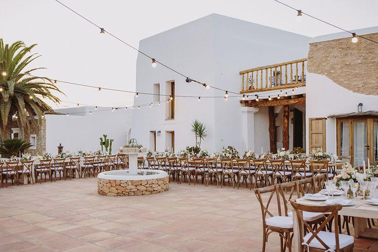 Festoon Lights | Outdoor Las Cicadas Ibiza Destination Wedding | Raquel Benito Photography
