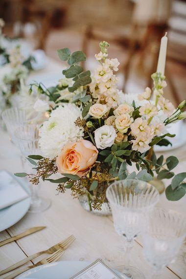 Peach & White Flower Arrangements | Outdoor Las Cicadas Ibiza Destination Wedding | Raquel Benito Photography