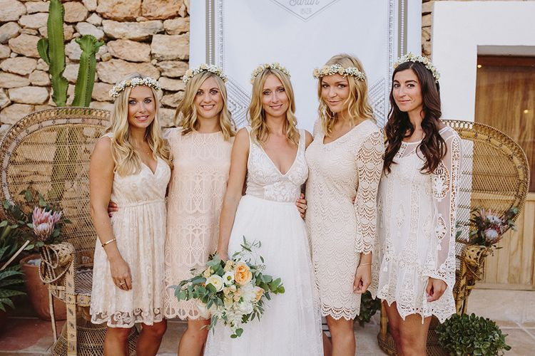 Bridesmaids in Different Nude Lace Dresses | Bride in Flora Bridal Wedding Dress | Raquel Benito Photography