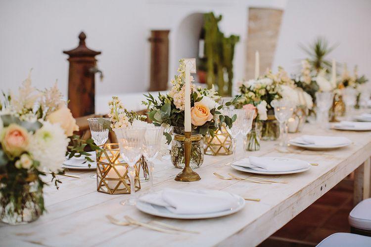 Peach & Gold Wedding Decor | Outdoor Las Cicadas Ibiza Destination Wedding | Raquel Benito Photography
