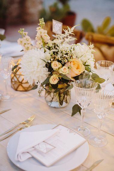 Peach & Gold Table Decor | Outdoor Las Cicadas Ibiza Destination Wedding | Raquel Benito Photography