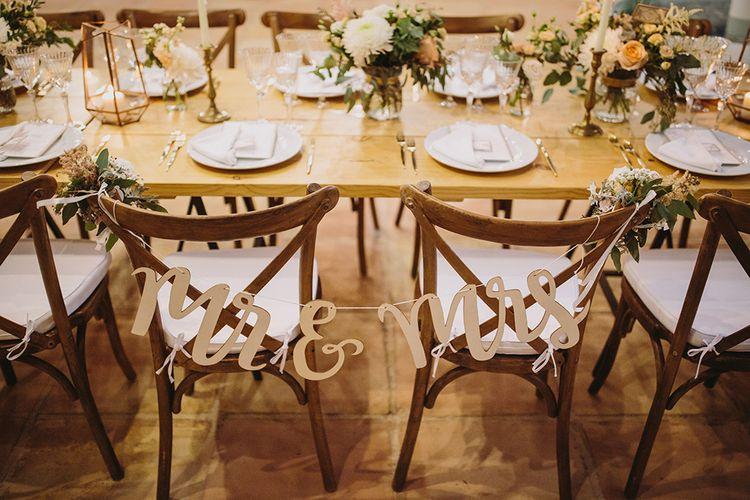 Chair Back Decor | Outdoor Las Cicadas Ibiza Destination Wedding | Raquel Benito Photography