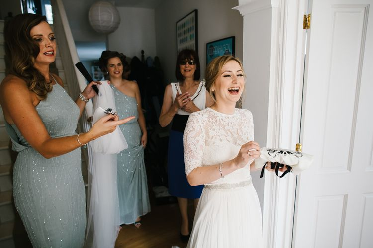 Bride in Catherine Deane Bridal Separates & Bridesmaids in Embellished ASOS Bridesmaid Dresses