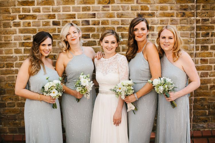Bride in Catherine Deane Bridal Separates & Bridesmaids in Embellished ASOS Dresses