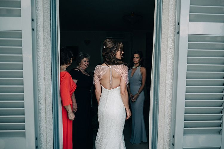 Bride in Fishtail Wedding Dress & Beaded Stole | Jason Mark Harris Photography | Harris Films