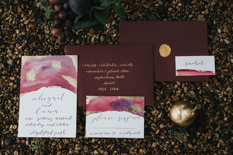 Burgundy & Gold Wedding Stationery Suite