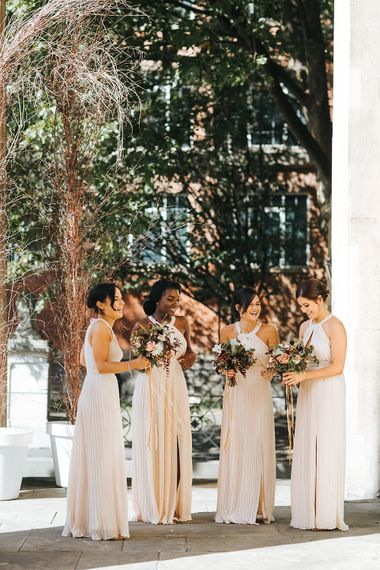 Bridesmaids In Oyster Coloured Dresses From ASOS