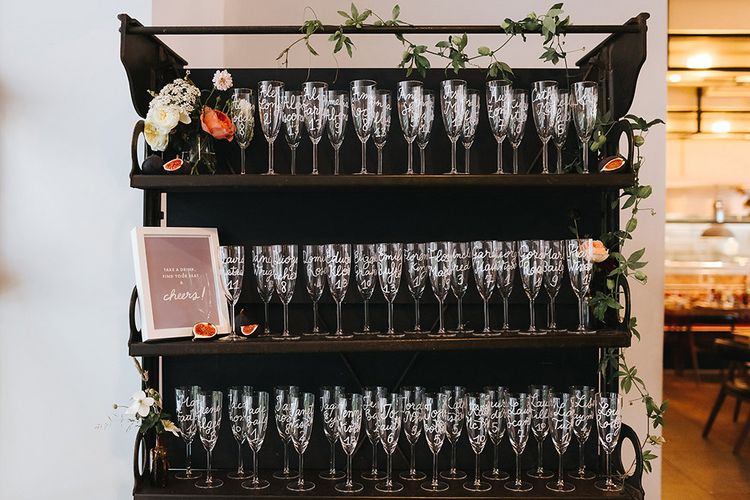 Personalised Champagne Flutes For Escort Card Display Table Plan