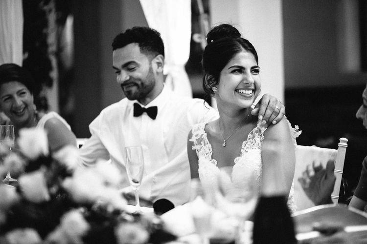 Wedding Reception Speeches | Bride in Lace Martina Liana Essense Design Wedding Dress | Groom in Paul Smith Suit | Ibiza Destination Wedding | Helen Abraham Photography | Ibiza Wedding Films