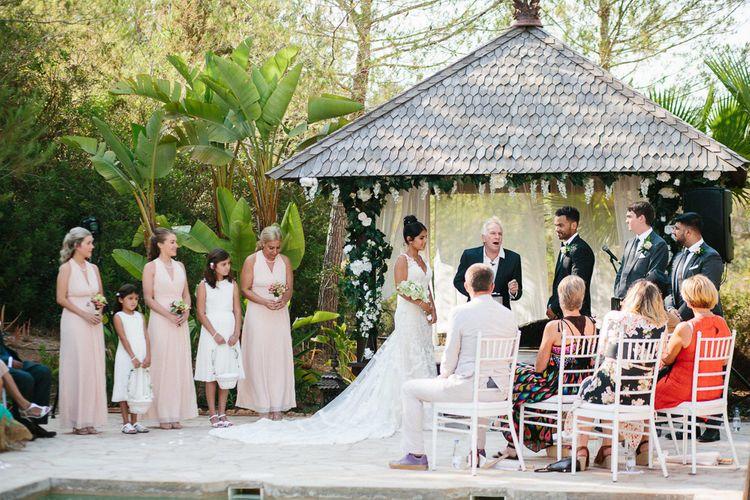 Outdoor Wedding Ceremony | Bride in Lace Martina Liana Essense Design Wedding Dress | Groom in Paul Smith Suit | Ibiza Destination Wedding | Helen Abraham Photography | Ibiza Wedding Films