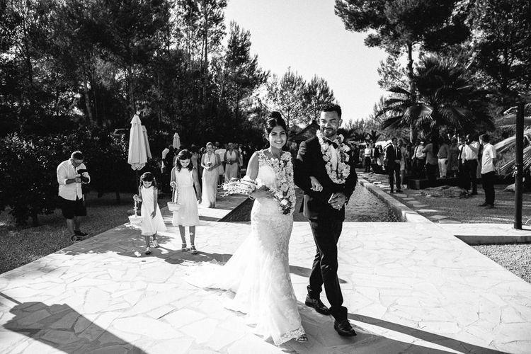 Wedding Ceremony | Bride in Lace Martina Liana Essense Design Wedding Dress | Groom in Paul Smith Suit | Ibiza Destination Wedding | Helen Abraham Photography | Ibiza Wedding Films