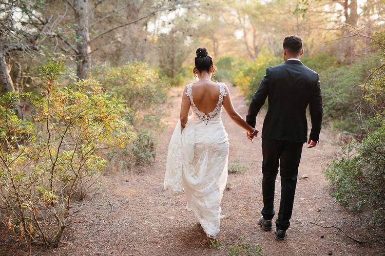 Bride in Lace Martina Liana Essense Design Wedding Dress | Groom in Paul Smith Suit | Ibiza Destination Wedding | Helen Abraham Photography | Ibiza Wedding Films