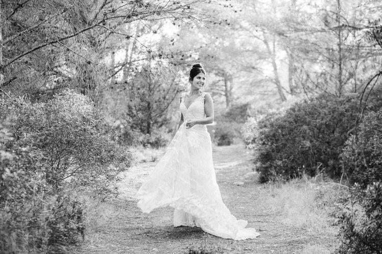 Bride in Lace Martina Liana Essense Design Wedding Dress | Ibiza Destination Wedding | Helen Abraham Photography | Ibiza Wedding Films