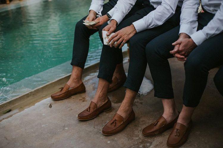 Groomsmen in Tan Loafers