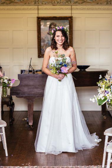 Bride in Lace David's Bridal Wedding Dress