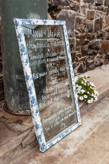 DIY Glass Menu Wedding Sign