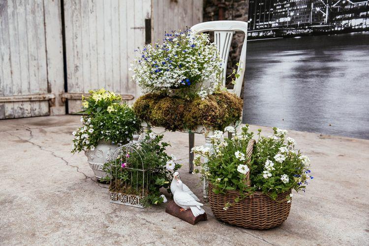 Rustic Crates & Baskets full of Wild Flowers Wedding Decor